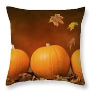 Three Pumpkins Throw Pillow by Amanda Elwell