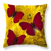 Three Red Butterflys Throw Pillow