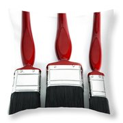 Three Red Paint Brushes Throw Pillow