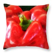 Three Red Peppers Throw Pillow