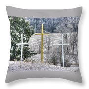 Three Roadside Crosses - Mount Airy Md Winter Throw Pillow