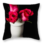 Three Roses Throw Pillow