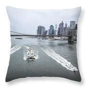 Three Ships At East River Throw Pillow