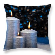 Three Silver Candles In Snow  Throw Pillow