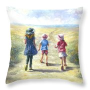 Three Sisters Beach Path Throw Pillow