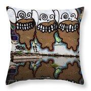 Three Skulls Graffiti Throw Pillow