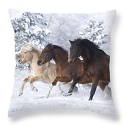 Three Snow Horses Throw Pillow