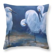 Three Snowy Egrets Throw Pillow