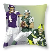 Three Stages Of Bret Favre Throw Pillow