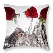 Three Strawberries Freshsplash Throw Pillow