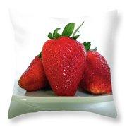 Three Strawberries Throw Pillow