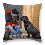 Three Strays Throw Pillow