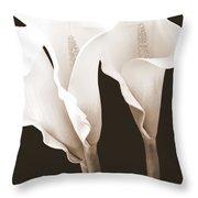 Three Tall Calla Lilies In Sepia Throw Pillow