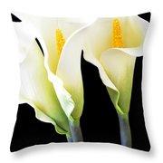 Three Tall Calla Lilies Throw Pillow