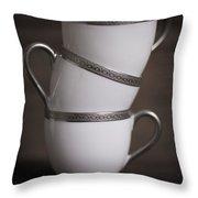 Three Tea Cups Throw Pillow
