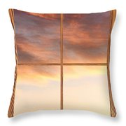 Three Trees Sunrise Barn Wood Picture Window Frame View Throw Pillow