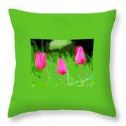 Three Tulips - Painting Like Throw Pillow