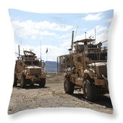 Three U.s. Army Mine Resistant Ambush Throw Pillow