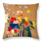 Three Vases Of Flowers Throw Pillow by Odilon Redon