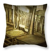 Three Vintage Wooden Chairs Throw Pillow