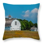 Three White Barns Throw Pillow