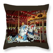 Three White Ponies Throw Pillow