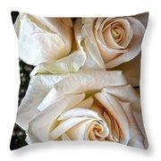 Three White Roses Throw Pillow