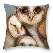 Three Wise Owls Throw Pillow by Karin Taylor