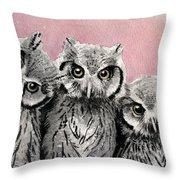 Three Wise Owls Throw Pillow