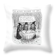 Three Witches Stir A Large Wok Throw Pillow by Roz Chast