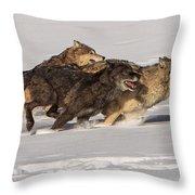Three Wolves Throw Pillow