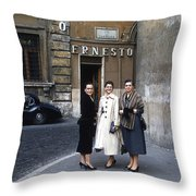 Three Women Mid Century Throw Pillow