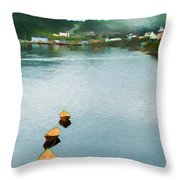 Three Yellow Boats Throw Pillow