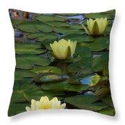 Three  Yellow Lilies Throw Pillow