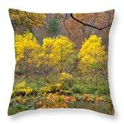 Three Yellow Trees Throw Pillow