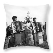 Three Young Accordion Players Throw Pillow
