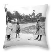 Three Young Children Play Golf Throw Pillow
