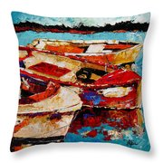 Threes A Crowd Throw Pillow by Vickie Warner
