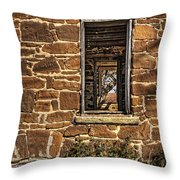 Through Doors And Windows - Abandoned House Throw Pillow