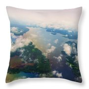 Through The Clouds. Rainbow Earth Throw Pillow by Jenny Rainbow
