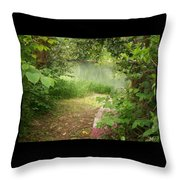 Through The Forest At Water's Edge Throw Pillow