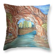Through The Rock Window Throw Pillow