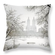 Through Winter Trees - Central Park - New York City Throw Pillow