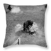 Thrown Bull Rider Rodeo Tohono O'odham Reservation Sells Arizona 1969  Throw Pillow