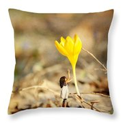 Thumbelina And The Crocus Throw Pillow