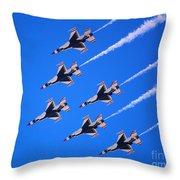 Thunderbirds Jet Team Flying Fast Throw Pillow