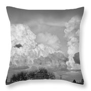 Thunderstorm Clouds And The Little House On The Prarie Bw Throw Pillow
