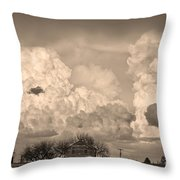 Thunderstorm Clouds And The Little House On The Prairie Sepia Throw Pillow
