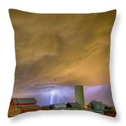 Thunderstorm Hunkering Down On The Farm Throw Pillow