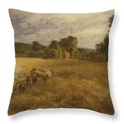 Thunderstorm In The Harvest Throw Pillow